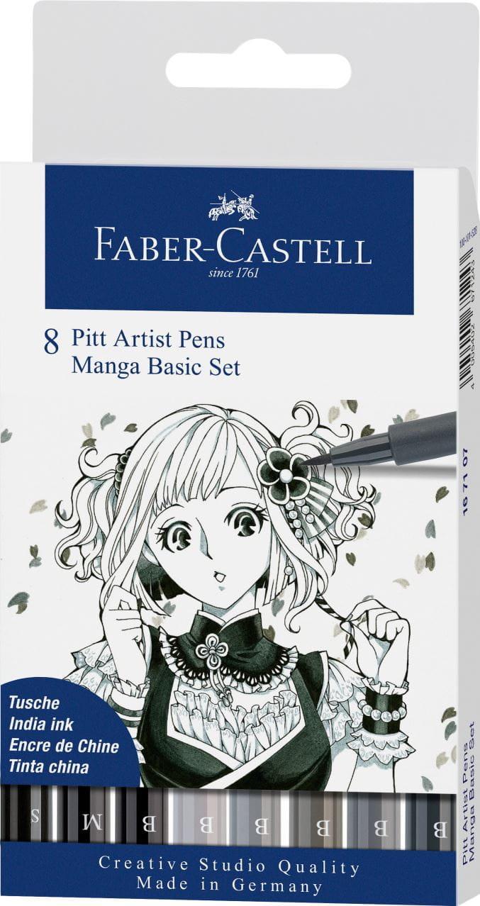 Faber Castell Pitt Manga Set Blacks//Greys 8pk