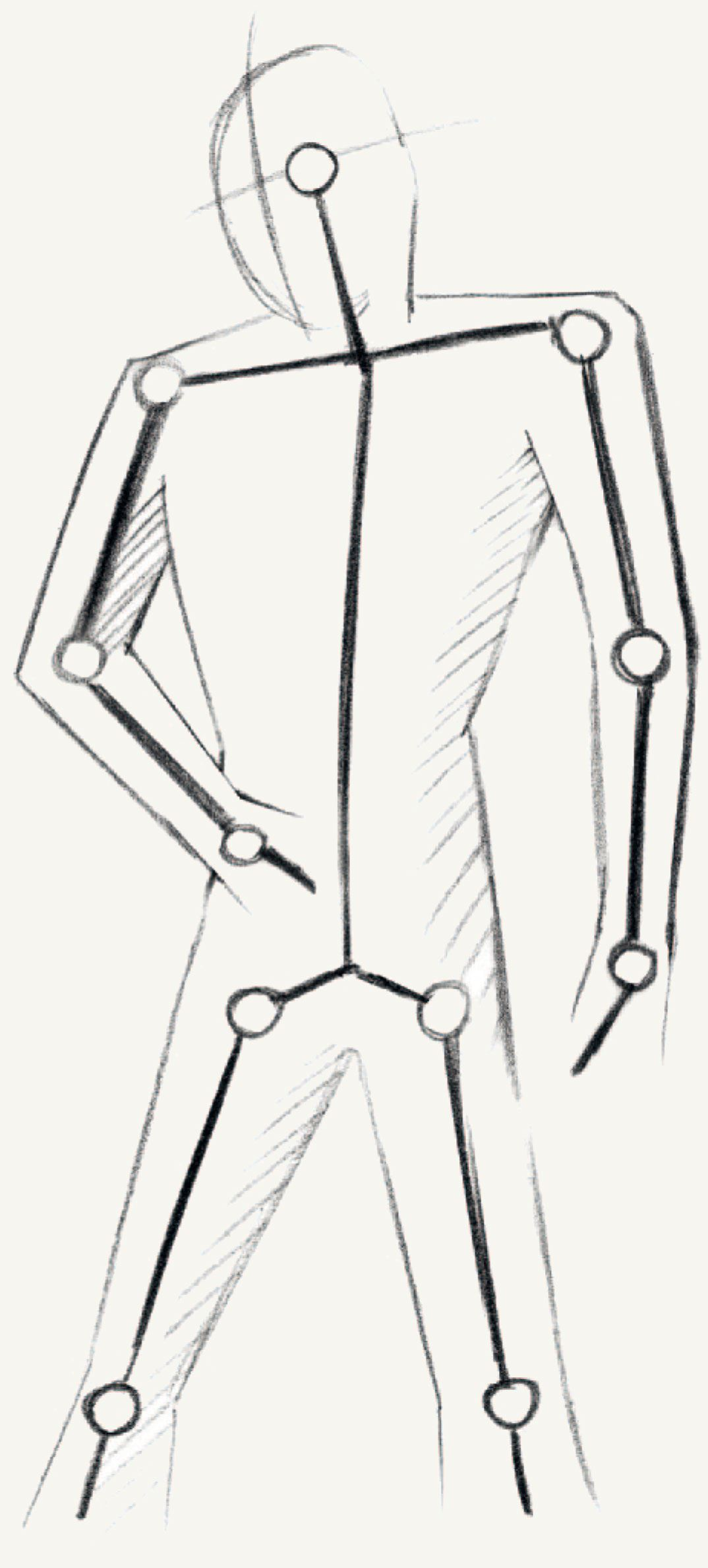 To draw your figure first make a preliminary sketch on the a4 drawing paper it is best to start with a simple stick figure and then add the joints to it