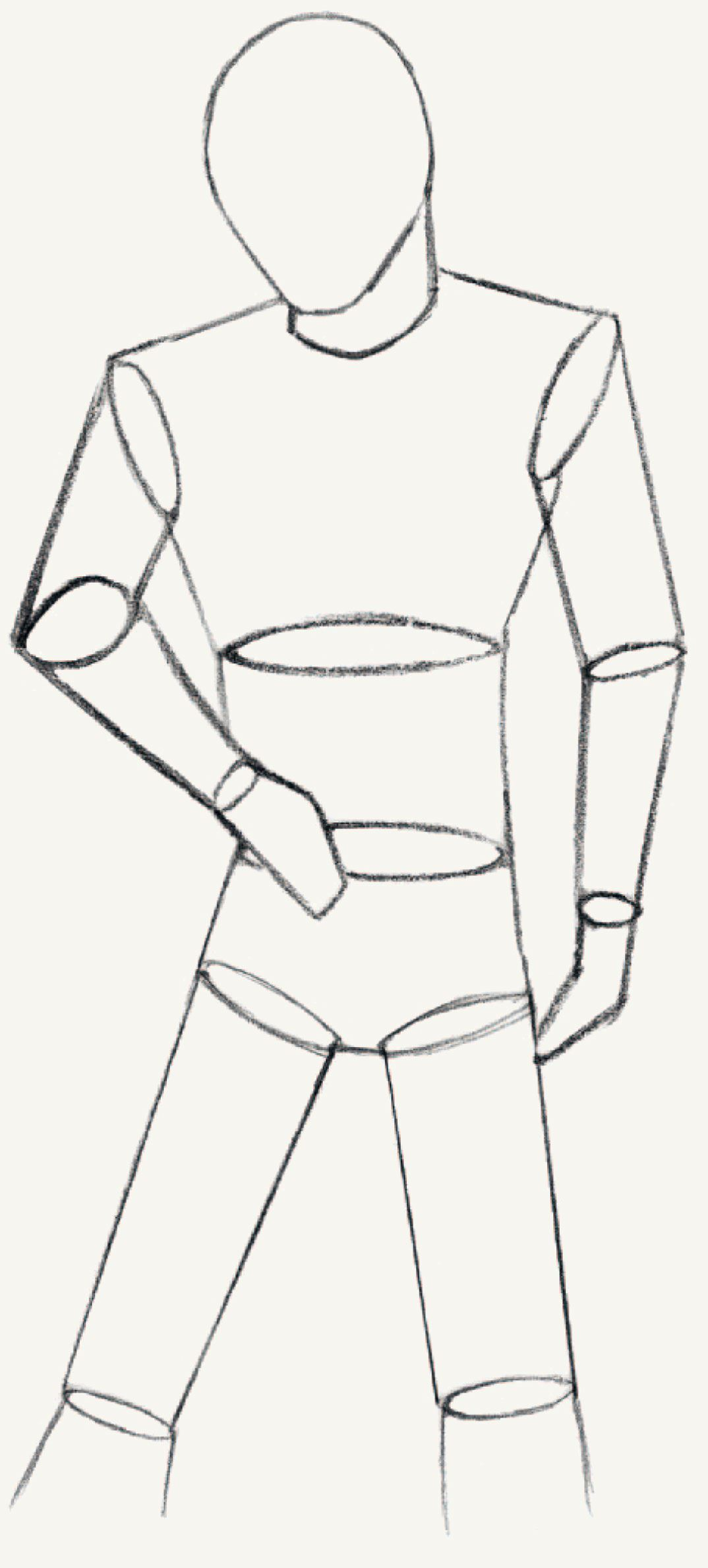 Now give your college boy a little more plasticity by means of basic geometrical shapes such as cylinders when doing this make sure you draw the