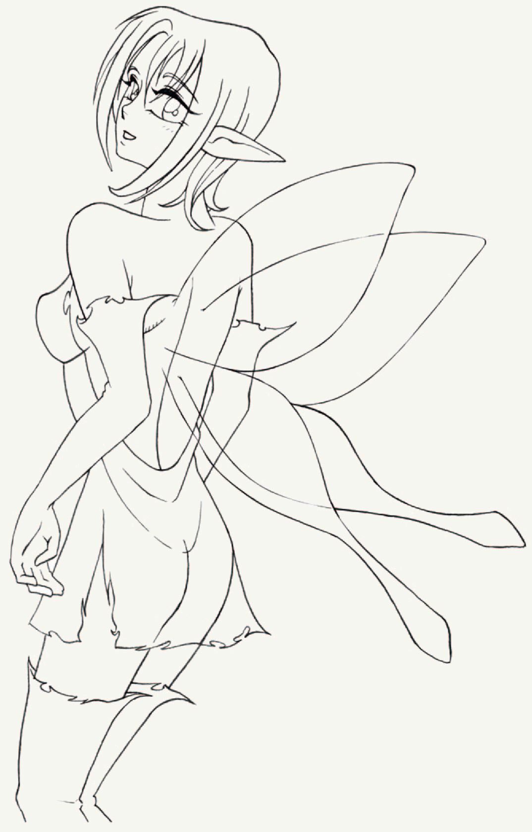 You can make your final alterations to the preliminary sketch the forms of the fairys body are now a bit fuller the left leg more acutely angled and the