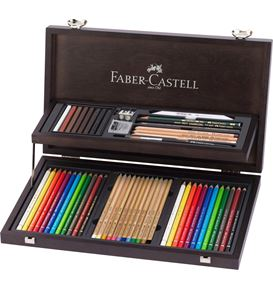 Faber-Castell - Art & Graphic Compendium wooden case, 53 pieces