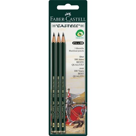 Faber-Castell - Castell 9000 graphite pencil, HB, set of 3