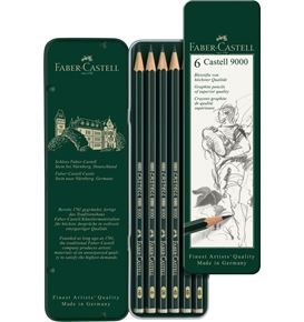 Faber-Castell - Graphite pencil Castell 9000 tin of 6
