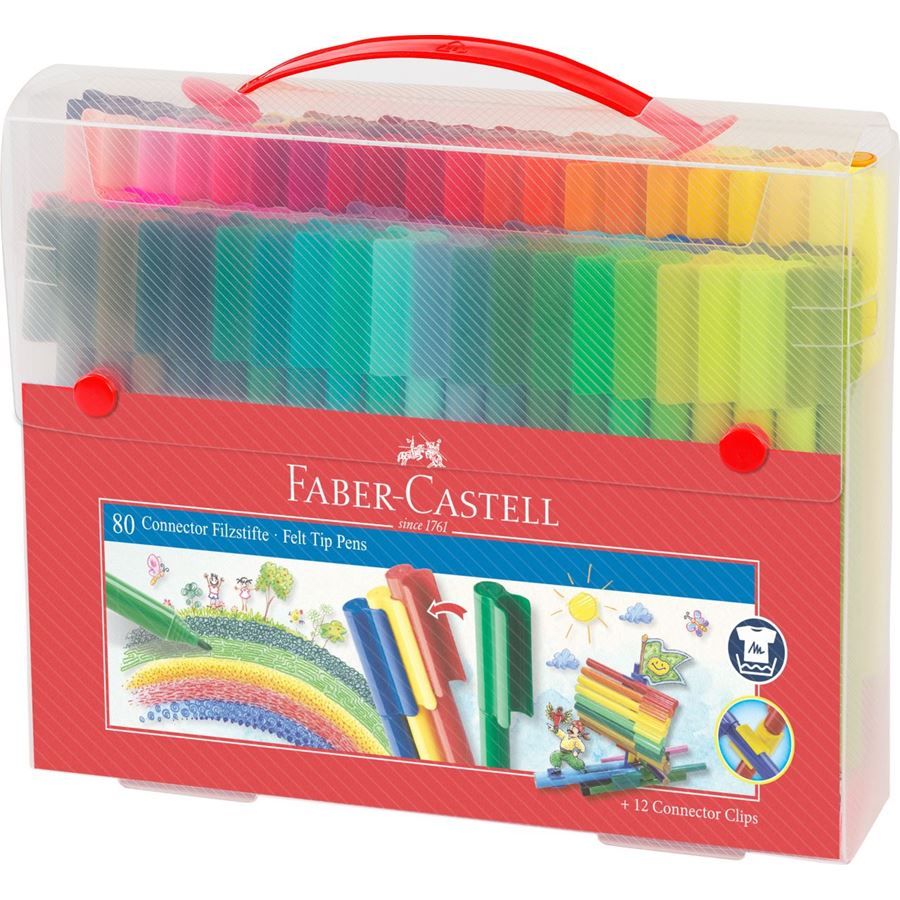Faber-Castell - Connector felt tip pen set Carrying case, 92 pieces