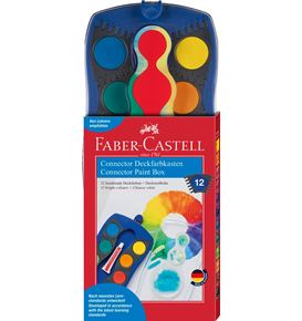 Faber-Castell - Connector paint box, blue, 12 colours and opaque white