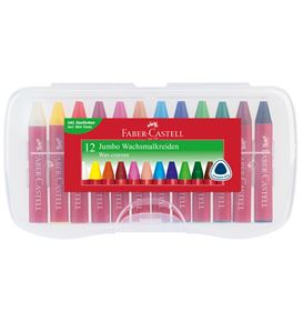 Faber-Castell - Jumbo wax crayon triangular, plastic box of 12