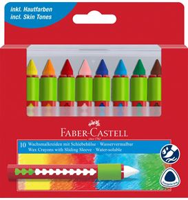 Faber-Castell - Wax crayon round with sliding cover, plastic box of 10