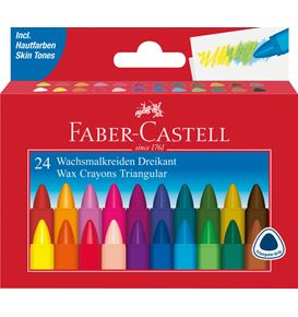 Faber-Castell - Wax crayon triangular, cardboard wallet of 24