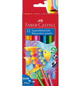 Faber-Castell - Classic Colour watercolour pencils, cardboard wallet of 12