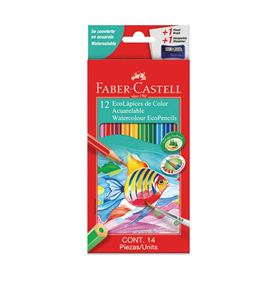 Faber-Castell - 12 Watercolour EcoPencils, 1 sharpener, 1 brush