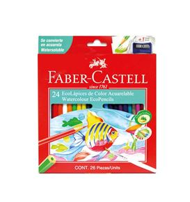 Faber-Castell - 24 Watercolour EcoPencils, 1 sharpener, 1 brush