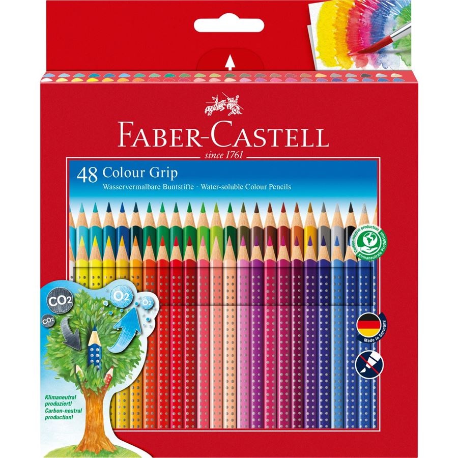Faber-Castell - Colour Grip colour pencil, cardboard wallet of 48
