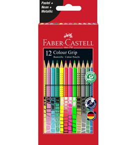 Faber-Castell - Colour Grip colour pencil, wallet of 12 with special colours