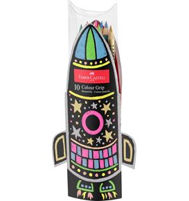 Faber-Castell - Colour Grip colour pencil colouring set rocket, 10 pieces