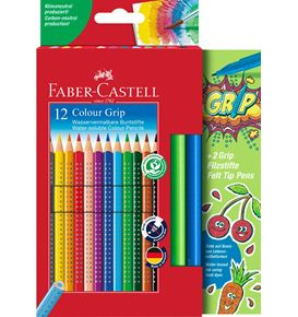 Faber-Castell - Colour Grip colour pencils, cardboard wallet, 14 pieces
