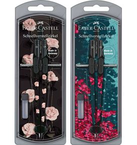 Faber-Castell - Girls 2021 compass with quick-set mechanism, 2 motifs