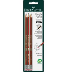 Faber-Castell - Dessin graphite pencil with eraser, B, set of 3
