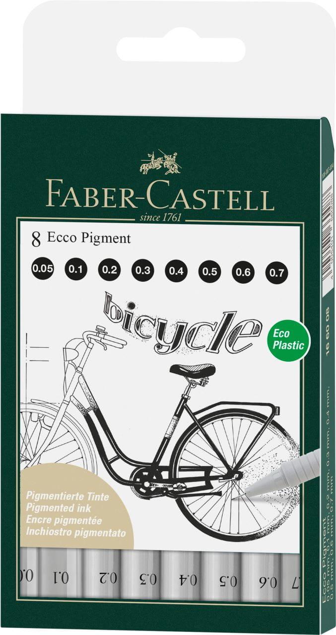 Faber-Castell ECCO Pigment-Tintenzeichner 4er Etui Fineliner Set