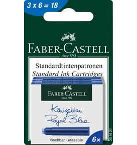 Faber-Castell - Ink cartridges, standard, 6x royal blue erasable, set of 3