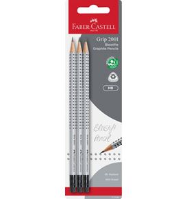 Faber-Castell - Grip 2001 graphite pencil with eraser, HB, silver, 3 pieces