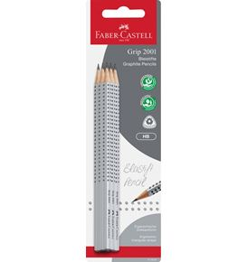 Faber-Castell - Grip 2001 graphite pencil, HB, set of 6 pencils, silver