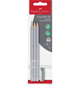 Faber-Castell - Grip 2001 graphite pencil set, B, silver, 4 pieces