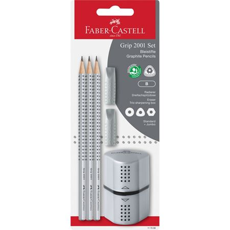 Faber-Castell - Grip 2001 graphite pencil, B, set of 3 pencils, silver