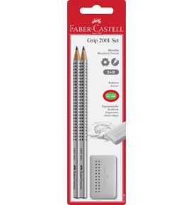 Faber-Castell - Graphite pencil Grip 2001 B 2x + Grip Edge grey