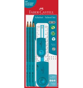 Faber-Castell - Grip 2001 graphite pencil set, B, turquoise, 6 pieces