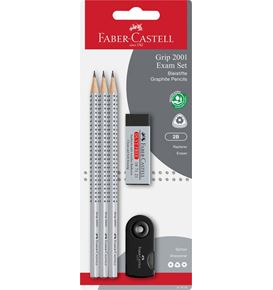 Faber-Castell - Grip 2001 graphite pencil set, 2B, black, 5 pieces