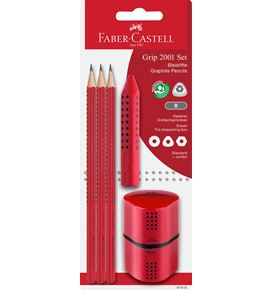 Faber-Castell - Grip graphite pencil set, red, 5 pieces