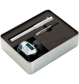Faber-Castell - Grip 2011 fountain pen, metal gift set, silver, 3 pieces