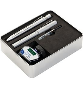Faber-Castell - Grip 2011 fountain pen, gift set, silver, 4 pieces