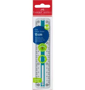 Faber-Castell - Grip ruler, 15 cm, break resistant, blue/turquoise