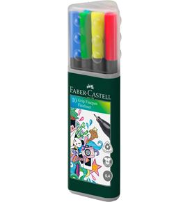 Faber-Castell - Grip Finepen, 0.4, plastic tube of 10