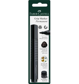 Faber-Castell - Grip Marker Permanent, round tip, blister card of 1, black