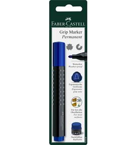 Faber-Castell - Grip Marker Permanent, round tip, blister card of 1, blue