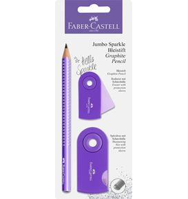 Faber-Castell - Jumbo Sparkle graphite pencil set, purple, 3 pieces