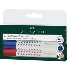 Faber-Castell - Grip Marker Whiteboard, round tip, wallet of 4