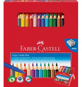 Faber-Castell - Jumbo Grip colour pencil/ Grip felt tip pen set, 23 pieces