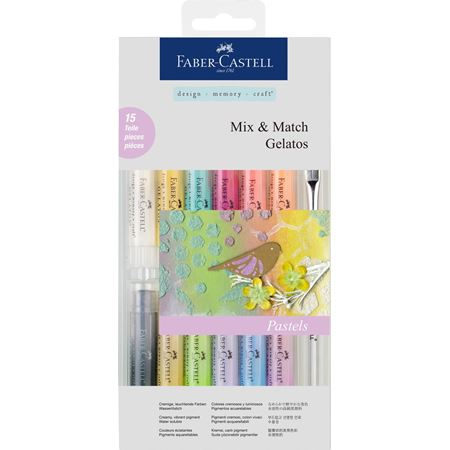 Faber-Castell - Gelatos water-soluble crayon, pastel tones, 15 pieces