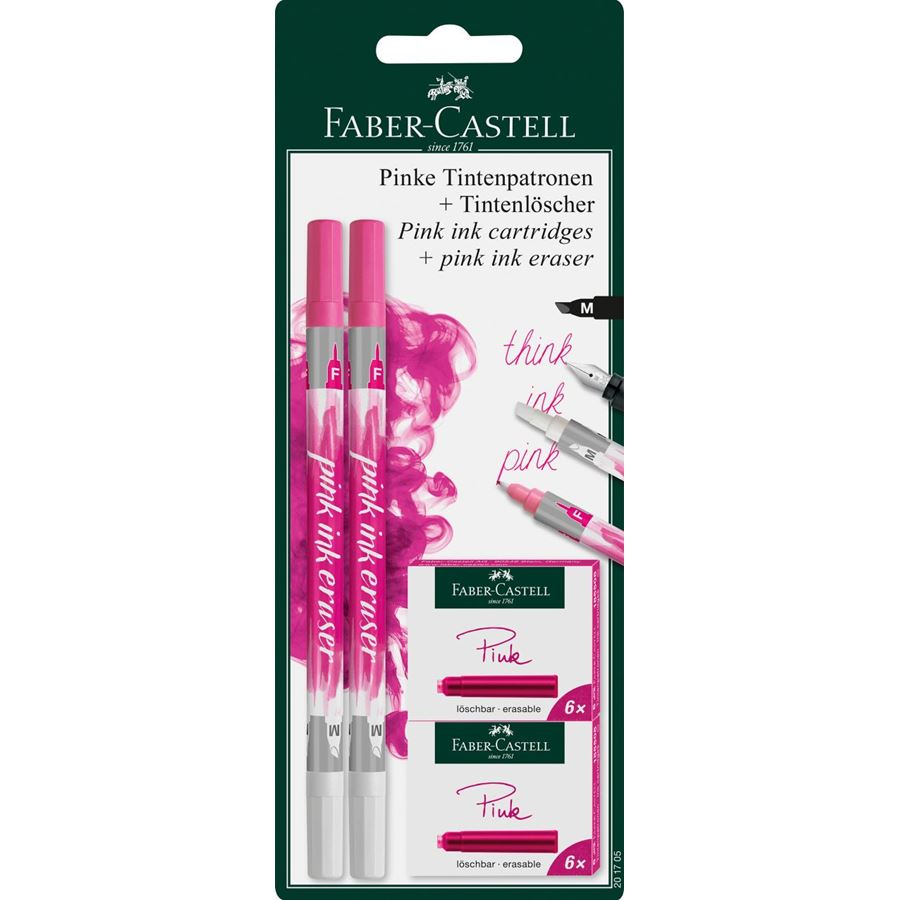 Faber-Castell - Standard ink cartridges and ink eraser set, pink, 14 pieces