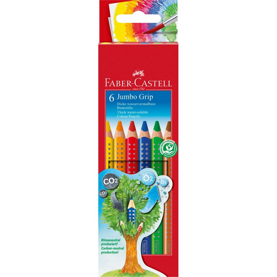 Faber-Castell - Jumbo Grip colour pencil, cardboard wallet of 6