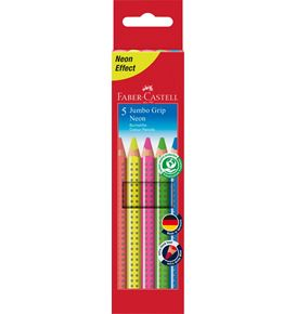 Faber-Castell - Jumbo Grip neon colour pencil, cardboard wallet of 5
