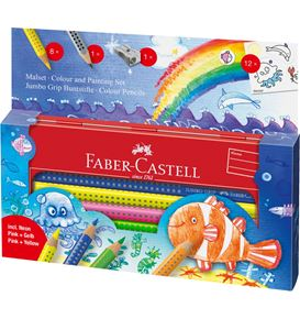 Faber-Castell - Jumbo Grip colouring set Ocean World in a tin, 21 pieces