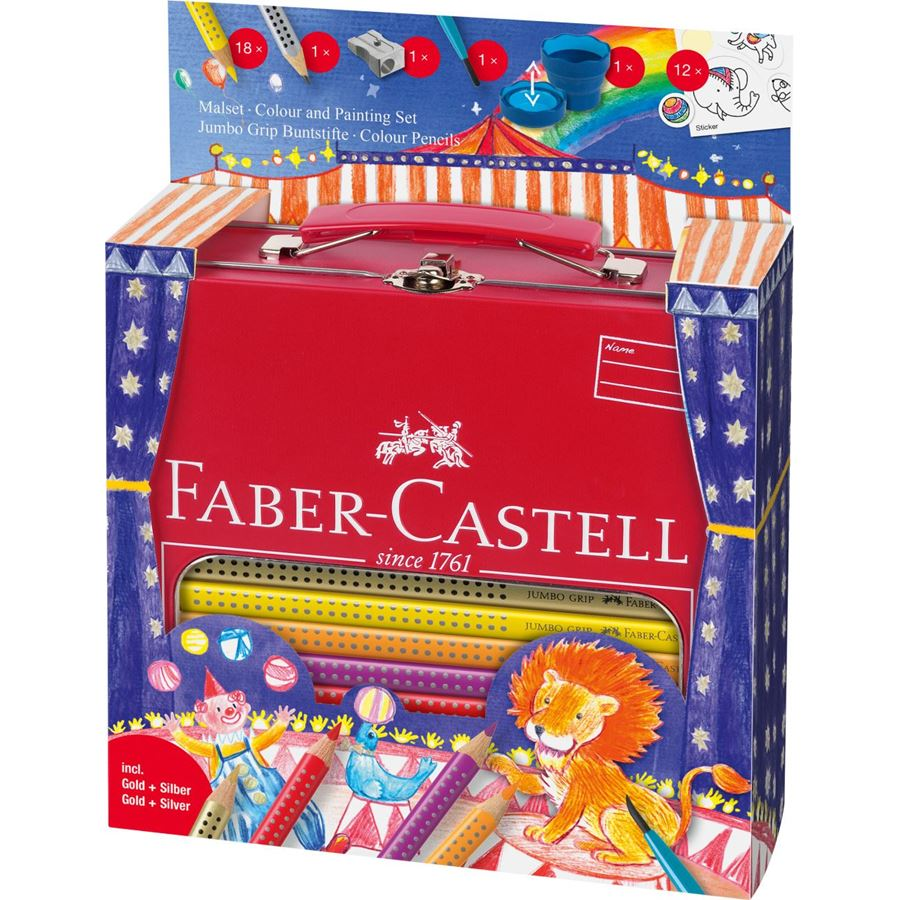 Faber-Castell - Jumbo Grip colouring set Circus in metal case, 33 pieces