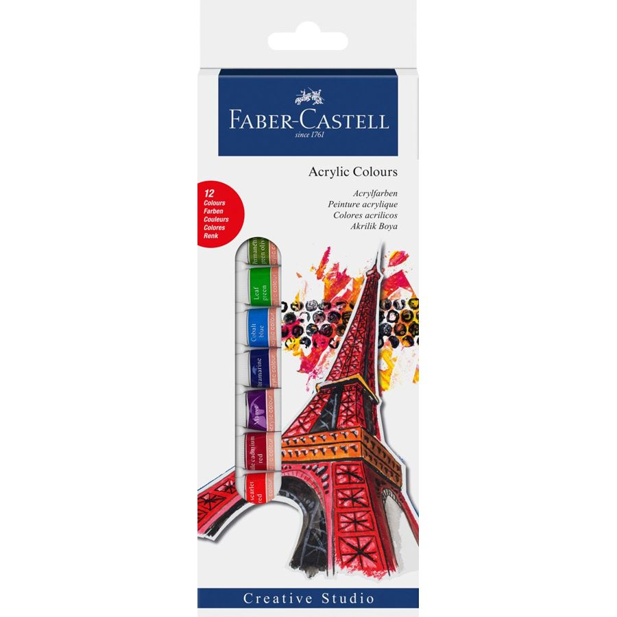 Faber-Castell - Starter set Acrylic colours, wallet of 12, 12x 12 ml tube
