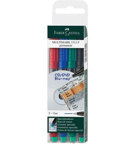 Faber-Castell - Multimark overhead marker permanent, F, wallet of 4