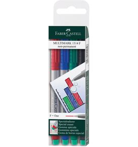 Faber-Castell - Multimark overhead marker water-soluble, F, wallet of 4