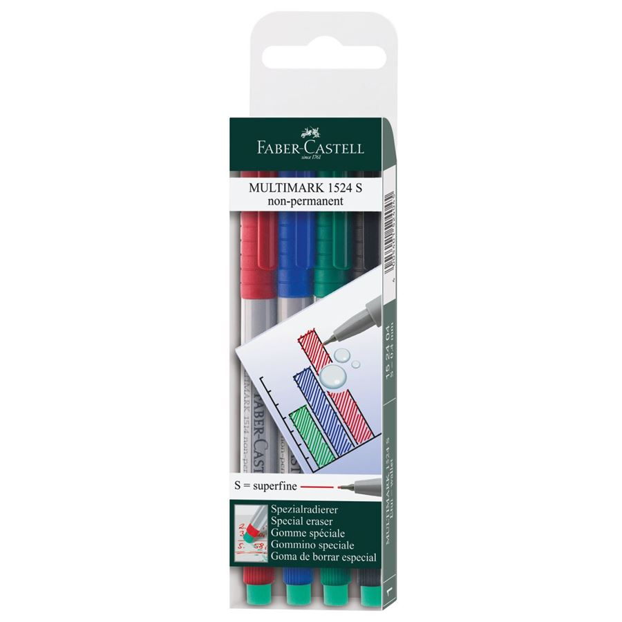 Faber-Castell - Multimark overhead marker water-soluble, S, wallet of 4